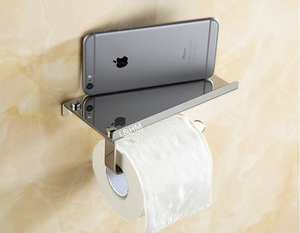 Porte-Rouleau de Papier WC avec Support de T/él/éphone pour Salle de Bain L/&HM Porte-Papier Toilette Mural avec Etag/ère de Rangement en 304 Acier Inoxydable