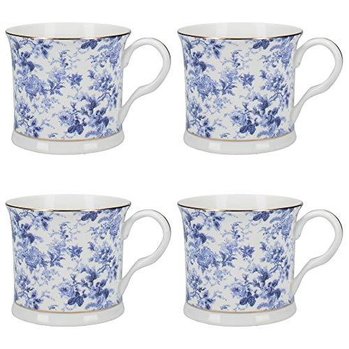 (Creative Tops Queen Victoria Fine Bone China Coffee Mugs with Gold Rims, 300 ml - Blue/White (Set of 4) )