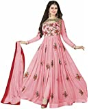 RTHub Women's Georgette Embroidered Semi Stitched Anarkali Salwar Suit (Pink_Free-Size_Aone-Pink)