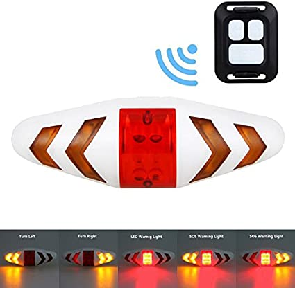 Bicycle Bike Rear LED Tail Light Wireless USB Remote Control Turn Signals laser