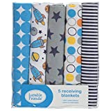 """Luvable Friends """"Space Race"""" 5-Pack Receiving Blankets - blue, one size"""