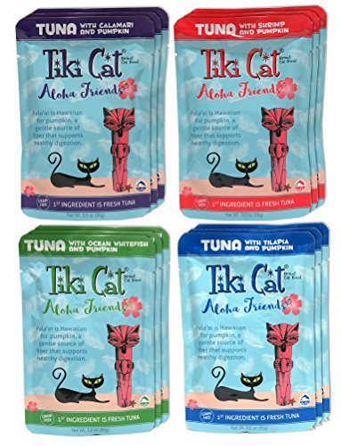 Tiki Cat Aloha Friends Grain Free Wet Cat Food Variety Pack – 4 Flavors – 12 Total Pouches (3 Ounces Each)