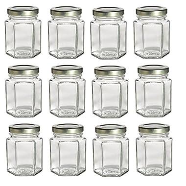Nakpunar 12 pcs , 3.75 oz Hexagon Glass Jars for Jam, Honey, Wedding Favors, Shower Favors, Baby Foods, DIY Magnetic Spice Jars