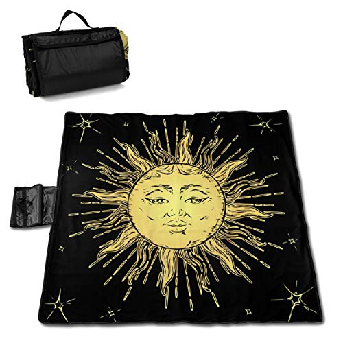 Outdoor Picnic Blanket Ouija Board Sun and Moon Beach Blanket - Waterproof 57 * 59in Foldable Ground Cove Picnic Mat Tent Mat Lawn Mat Portable Tote Lightweight Mat Perfect for Concert
