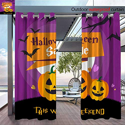 BlountDecor Indoor/Outdoor Single Panel Print Window Curtain Halloween Sale background1 Silver Grommet Top Drape W84 x L96/Pair