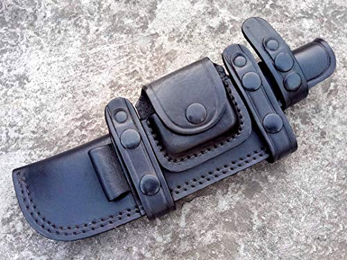 Ottoza Custom Handmade Black Right Hand Leather Knife Sheath for Tracker Knife - Bushcraft Knife - Hunting Knife - Survival Knife - Skinning Knife Horizontal Scout/Cow - Buffalo Leather No:42 - Scout Sheath