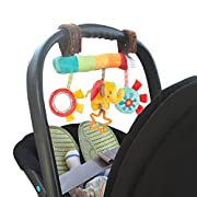 Easykan Baby Rattle Toy Kids Stroller Hanging Bell Puppet,Plush Adorable Stuffed Animal Rattle Bed Pram Cot Spiral Hanging Elephant Bell Gift Set,Squeak,Teether&Mirror for Boys Girls (1pc)