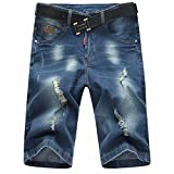 SUSIELADY Men's Jean Denim Short Cargo Shorts Classic Five Pocket Big & Tall Casual Ripped Distressed Straight Fit Hole