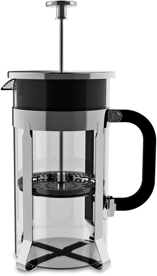 French Press Coffee Maker, Ymiko French Coffee Press 8 Cup, 1 liter, 34 Oz French Press with 4 Filter System, 304 Grade Stainless Steel Heat Resistant Borosilicate Glass, Easy Cleaning