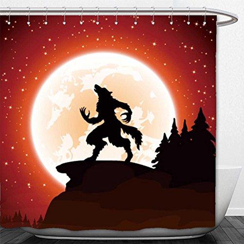 Beshowere Shower Curtain halloween night and werewolf on moon background illustration