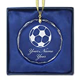 Round Crystal Christmas Ornament - Soccer Ball - Personalized Engraving Included