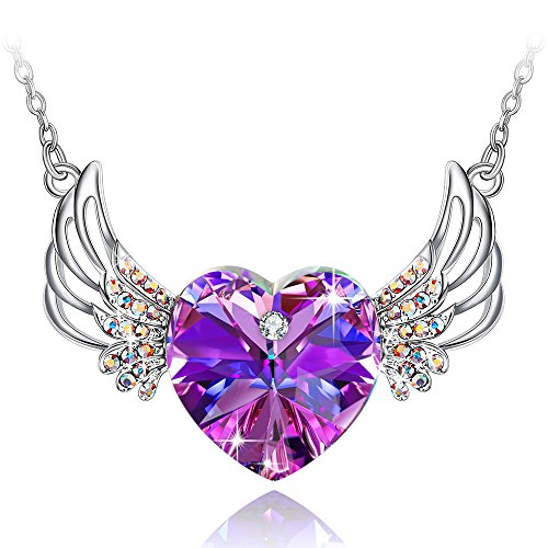 Special Outlook Love Heart Necklace - Angel Wings Purple Crystal Pendant Jewelry for Women and Girls