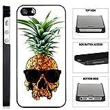 [TeleSkins] - Pineapple-Skull-Hipster-Cool - iPhone SE / 5 / 5S Black Plastic Case - Ultra Durable Slim & HARD PLASTIC Protective Vibrant Snap On Designer Back Case / Cover. [Fits iPhone SE / 5 / 5S]