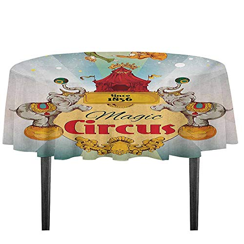 kangkaishi Circus Washable Tablecloth Magic Circus Tent Show Announcement Vintage Style Aerialist Acrobat Performance Dinner Picnic Home Decor D55.11 Inch Multicolor
