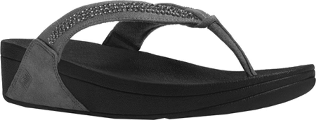 FitFlop Women's Crystal Swirl Thong Sandal,Pewter,US 8 M