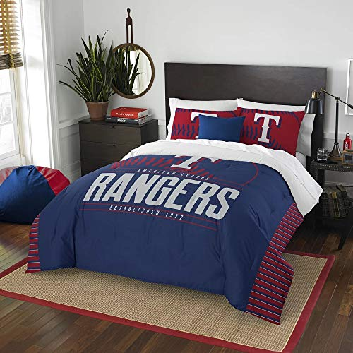 3 Pc MLB Rangers Queen Comforter Set,Beautiful American Baseball League Team Logo Boys Bedding Set, Stylish Side Print Bold Color Fun Entertainment Sports Lover Soft Navy Red Comforter Pillow Included