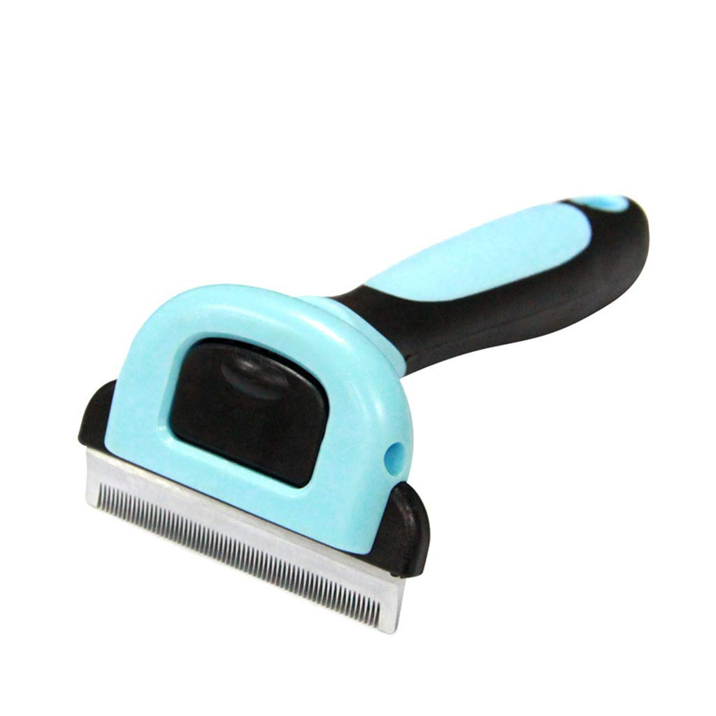 SummarLee Pet Comb Stainless Steel Hair Knife Smooth Hair Knot Comb Massage Beauty Hair Removal Comb Non-Slip Handle Blue Dog Cat Comb 13.574.9cm