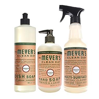 Mrs. Meyer's Kitchen set, Geranium, 3 ct: dish soap, hand soap & multi-surface everyday cleaner