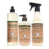 Mrs. Meyer's Clean Day Kitchen Basics Set, Geranium, 3 ct: Dish Soap (16 fl oz), Hand Soap (12.5 fl oz), Multi-Surface Everyday Cleaner (16 fl oz)
