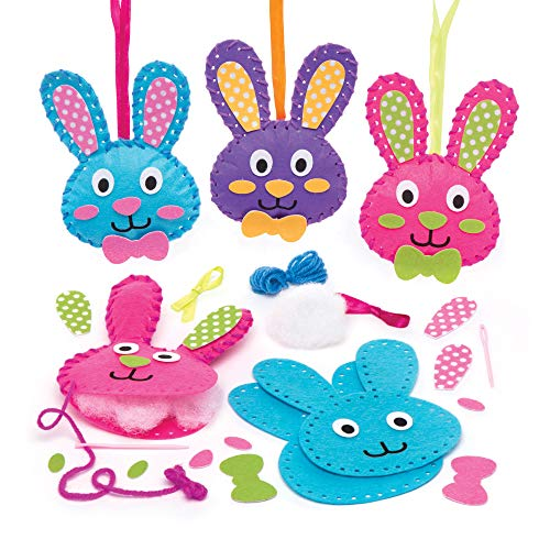 Baker Ross Bunny Sewing Kits (Pack of 3) Easter Crafts for Kids to Make and - Sewing Crafts Easter