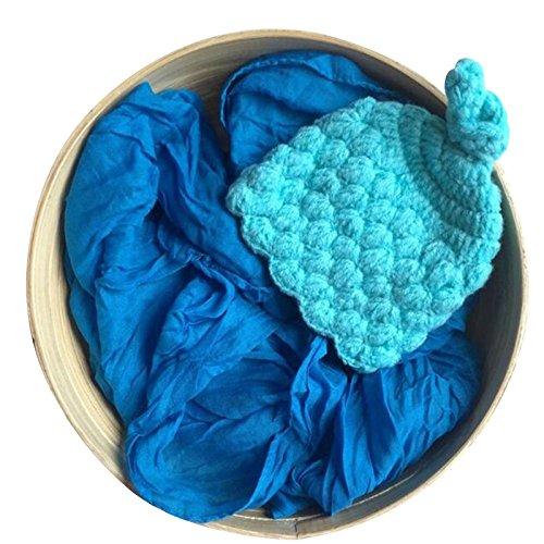 trietree color puro tejer a mano envoltura de recién nacido apoyos de la foto Hat Bebé Fotografía Props Juego de regalo para recién nacido, L, Mediano
