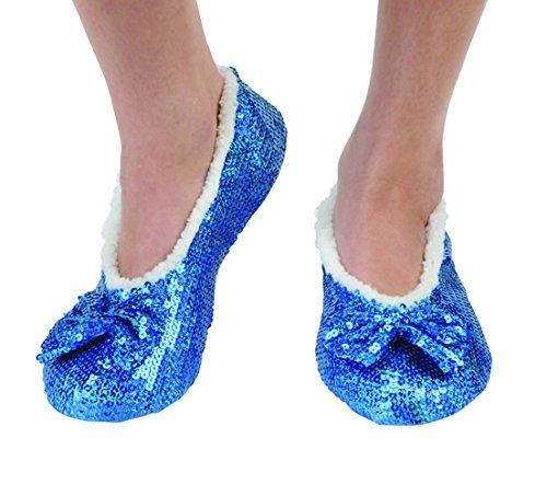 snoozies! Womens Brilliance Bling Ballerina Sequin Slippers Indigo Blue 11/12 Indigo Womens Plush