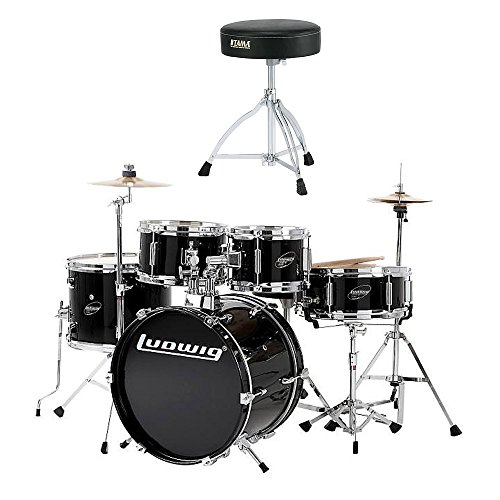 Ludwig Standard Drum - Ludwig Junior 5 Piece Drum Set with Cymbals - (Black) with Tama HT130 Standard Double Braced Leg Throne