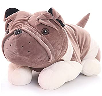 Chocozone 60cm Huge Grey Bulldog Soft Toy Cushion for Kids & Babies Stuffed Pillow