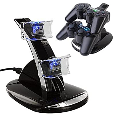 KONKY - PS4 Controller Charging Dock Stand, USB Dual Charger Station Accessory with LED Indicator for Playstation 4 / PS4 Slim Pro and PSVR Controller, Black by KONKY