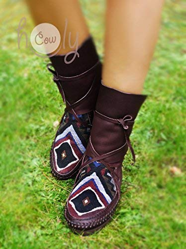 cd8339478b6 Amazon.com: Hand Stitched Brown Leather Moccasins With Native ...