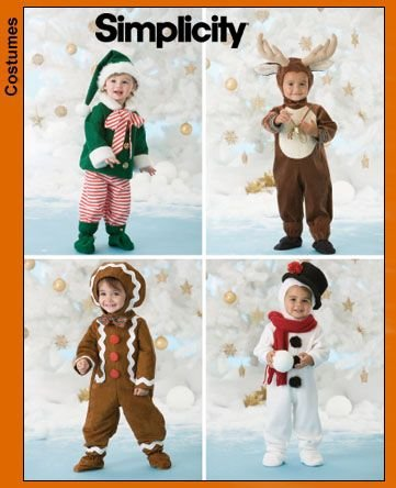 Simplicity Holiday Pattern Collection Pattern 3916. Toddler Sz 1/2;1;2;3;4 Elf; Reindeer; Gingerbread Man; Snowman Costumes]()