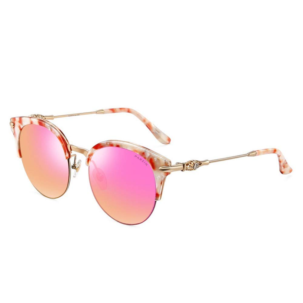 Fashion Polarized Sunglasses Female Metallic Face Half Frame color Film Trend Driver Driving Sunglasses Red Floral Red Purple