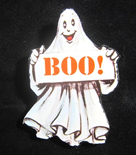 Happy Ghost Pin Handcrafted Wooden Halloween Brooch, Day of the Dead, Sheet Costume, Hostess Party Gift Casper -