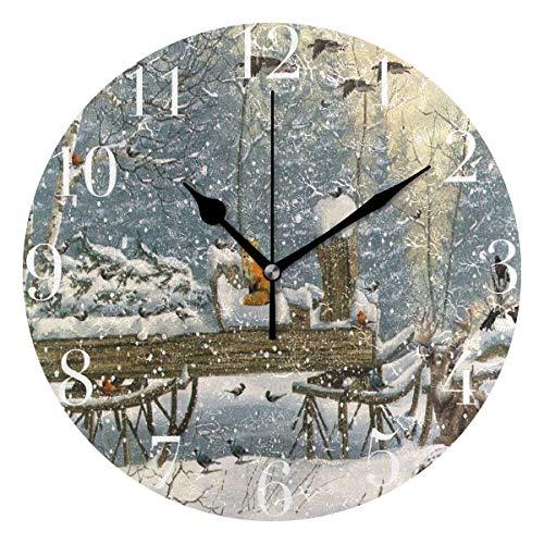 NMCEO Round Wall Clock Winter Woods Deer Tree Christmas Fox Cardinal Animal Acrylic Original Clock for Home Decor Creative