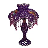 MILUCE European-style Hand-beaded Lampshade Lighting Garden Purple Princess Bedroom Bedside Lamp Acrylic