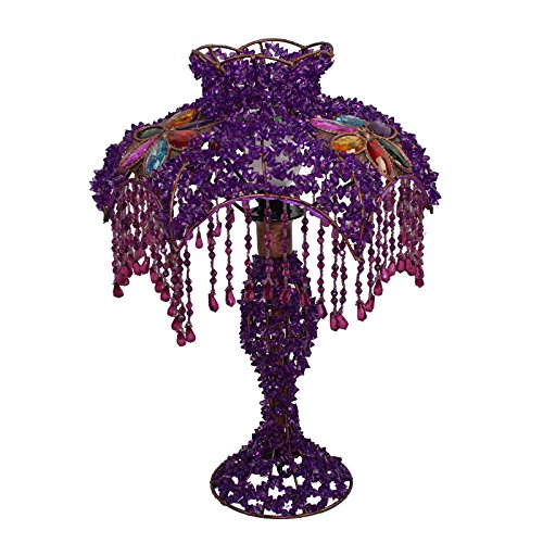MILUCE European-style Hand-beaded Lampshade Lighting Garden Purple Princess Bedroom Bedside Lamp Acrylic (Shades Lamps Table For Beaded Lamp)