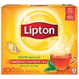 Lipton Black Tea Bags, 100% Natural Tea, 100 count
