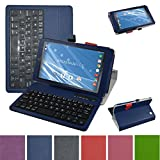 Insignia NS-P08A7100 Bluetooth Keyboard Case,Mama Mouth Slim Stand PU Leather Case Cover With Romovable Bluetooth Keyboard For 8'' Insignia Flex NS-P08A7100 Andriod 6.0 Tablet 2016,Blue