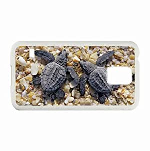 Samsung Galaxy S5 SV Cases Customized Gifts turtles beach stones shell White Hard PC Case