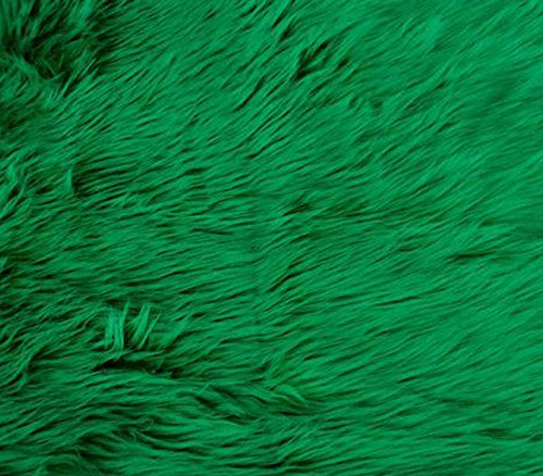 (Faux Fake Fur Fabric Long Pile Solid Shaggy Kelly Green / 60