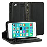 iPod 5 Case, GMYLE Book Case Vintage for iPod Touch 5 - Black PU Leather Protective Book style Flip Folio Slim Fit Stand Case Cover