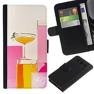 Billetera de Cuero Caso Titular de la tarjeta Carcasa Funda para Samsung Galaxy S3 III I9300 / Cocktail Drinks Lounge Pink Yellow Glass / STRONG