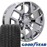 gmc sierra rims and tires - 20x9 Wheels & Tires Fit GMC Chevy & SUV - GMC Sierra 1500 Style Chrome Rims w/Goodyear Tires, Hollander 5656 - SET
