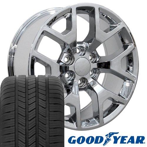 20x9 Wheels & Tires Fit GM Truck & SUV - GMC Sierra 1500 Style Chrome Rims w/Goodyear Tires, Hollander 5656 - SET (Chrome Rims Truck)