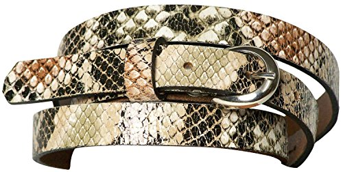 FRONHOFER Snakeskin-look belt in real cowhide leather, snake-look belt, pastel, Color:Multicoloured, Size:waist size 29.5 IN S EU 75 cm 0.5' Wide Leather