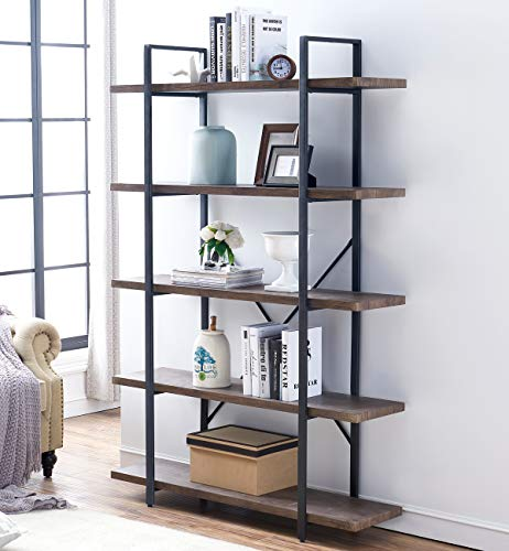 - O&K Furniture 5-Tier Industrial Style Bookshelf, Wood and Metal Bookcases Furniture, 70