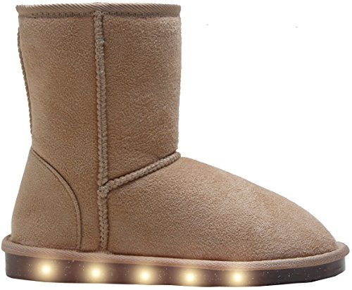 LED Light Up Micro-suede / Faux Fur Boots, White Color Lights when you walk, Shoes for Boys & Girls, Kids (35EU/ 2.5-3 US Big Kid, Beige) - Suede & Faux Fur Boot