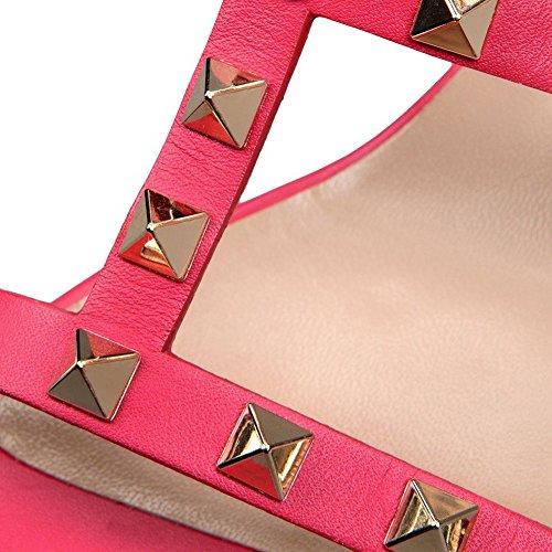 Sandali Per Le Donne, Rivetti Borchiati Con Tacco A Spillo Tacchi Alti Scarpe Gladiatore Tagliati Sandali Dress Rosa 5cm