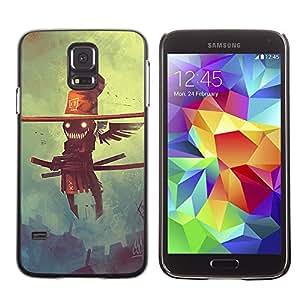 LECELL--Funda protectora / Cubierta / Piel For Samsung Galaxy S5 -- Creepy Flying Smurai Espantapájaros --