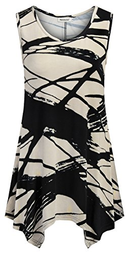 Nandashe Fit and Flare Tank Top, Summer Women Fashion Cowl Neck Floral Print Handkercheif Asymmetrical Hem Basic Sleeveless Shirts for Work Loose Long High Low Camisole Black Beige Medium (Neck Asymmetrical Cowl)